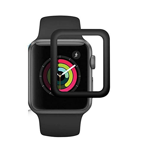 Colorcase Front Tempered Glass Screen Scratch Guard Protector [Max Coverage] [Anti-Bubble] [Anti Fingerprint] HD Clear Display for Apple Watch Series 2/3/4/5 38mm - {Black}