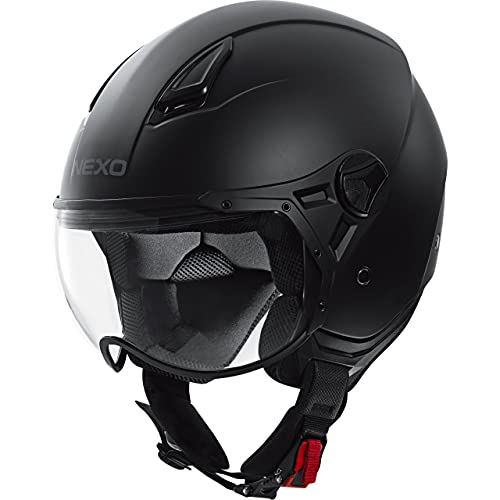 Nexo Jethelm Motorradhelm Helm Motorrad Mopedhelm Demi Jet Helm City II Mattschwarz M, Unisex, Chopper/Cruiser, Ganzjährig, Thermoplast, matt schwarz