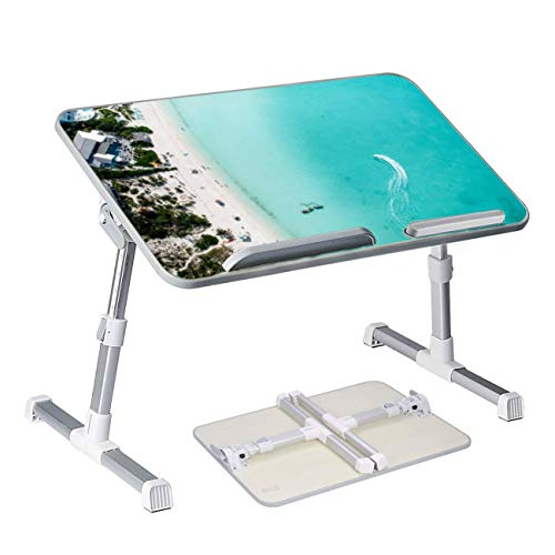 Drone Photo of Beach in Sapodilla Bay Providenciales Turks and Caicos Foldable Laptop Desk Bed Table Portable Serving Tray Home Office Adjustable Lap Desk Great for Kids Adults Boys Girls