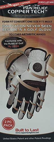 CopperTech Women's Golf Gloves 2 Pack(ONE Size FIT Most) Worn on Left Hand for The Right Handed Golfer White/Black