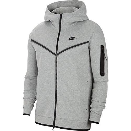 Nike Herren Tech Full Zip Sweatshirt, Dk Grey Heather/Black, XL