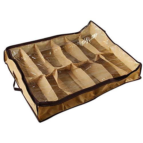 Almacenamiento de zapatos, organizador de zapatos de 12 pares, caja de zapatos para debajo de la cama, bolsa de zapatos a prueba de polvo, contenedor, organizador