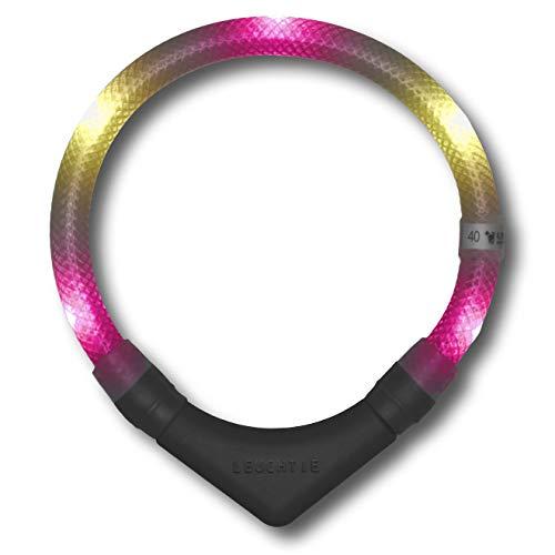 LEUCHTIE® Leuchthalsband Plus pink-vanille Größe 45 I LED-Halsband für Hunde I 100 h Leuchtdauer I wasserdicht I enorm hell