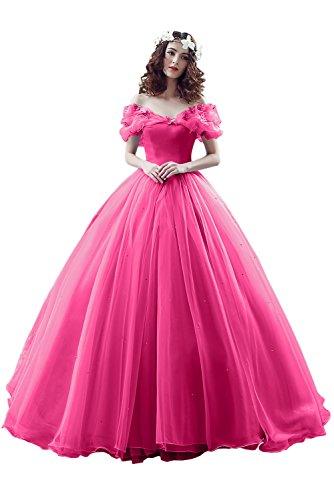 Victory Bridal Damen Wunderschoen rosaes Kurzarm Abendleider Quincenera Ballkleider Lang Promkleider Cinderella -44 rosa