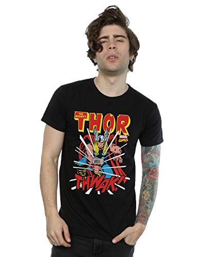 Marvel hombre Thor Thwak Camiseta Medium Negro
