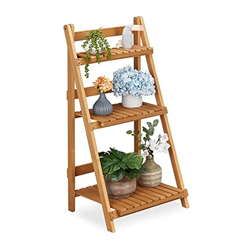 Relaxdays Blumentreppe Holz, klappbar, für innen & außen, 3 Ebenen, freistehend, HBT: 95x50x40 cm, Pflanzentreppe, braun