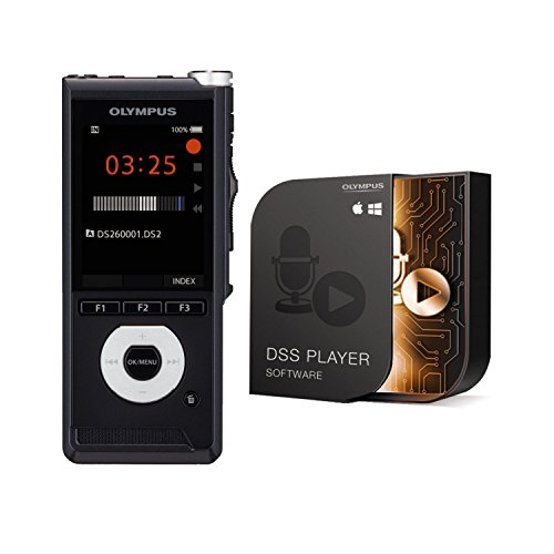 "Olympus DS-2600 Digitales Diktiergerät mit Schiebeschalter inkl. Diktatmanagementsoftware""Dss Player Standard"" (Mac & PC) | Dss Pro, MP3, PCM | USB | SD-Karten-slot & interner Speicher | Lautsprecher"