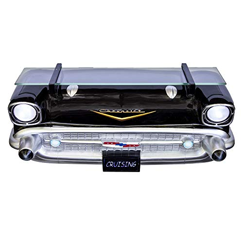 SUNBELTGIFTS BEST BRANDS UNDER THE SUN 1957 Black Bel Air - Floating 3D Shelf w/Working Headlights and Tempered Glass Above The Hood Design - Easy Assembly (7580-112)