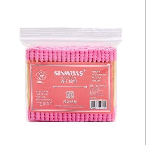 YUELANG 100pcs / Pack De Bourgeon De Coton Double Tête for Les Femmes Maquillage Pointe De Coton for Bâtonnets Médicaux Bois Oreilles Nez Nettoyage des Outils De Soins De Santé (Color : Pink)