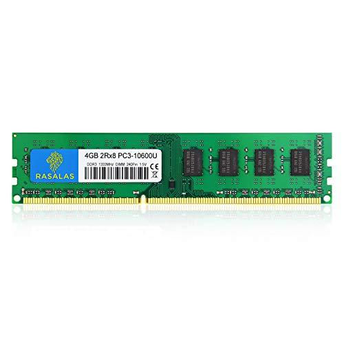 Rasalas 4GB DDR3 PC3-10600 DDR3-1333 PC3 10600U RAM 2Rx8 Udimm 1.5V CL9 240-pin RAM Memory Module Upgrade for Desktop Computer