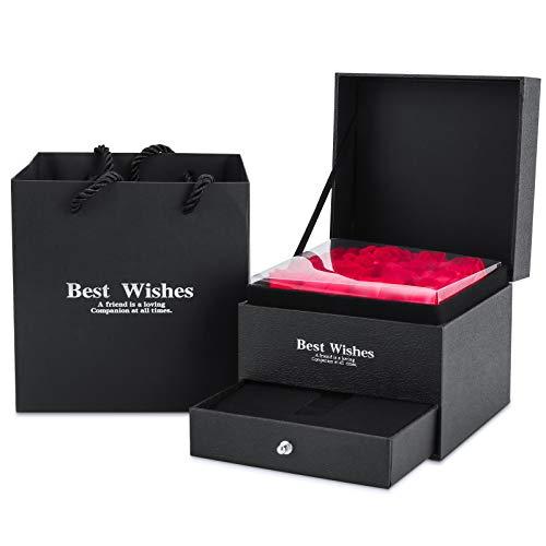 MOPOIN Caja de joyería de Rosa eterna, Rosas Nunca marchitas Flor Rosa eterna Rosa roja preservada Hecha a Mano para el Día de la Madre, San Valentín, Navidad, Aniversario, Boda, Cumpleaños
