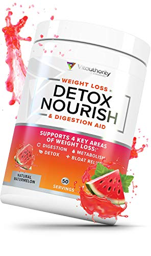Detox Nourish Detox Cleanse Weight Loss Powder: Natural Digestive Enzyme Supplement with Apple Cider Vinegar to Support Healthy Weight Loss for Women and Men and Bloating Relief, Watermelon, 50 SRV