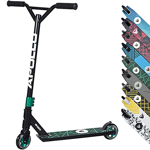 APOLLO Stunt Scooter Genius Pro 4.0 - Trick Pro Scooters for Teens, Adults and Kids 6+ Years - Cool, Sturdy Design, Reliable Grip, Freestyle Pro Scooter, 220LBS Teal