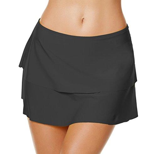 YoungSoul Trajes de baño con Falda incorporada - Shorts de baño de Playa - Falda de Bikini con Volantes a Capas para Mujer