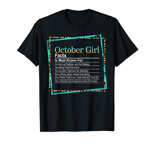October Girl Womens Facts Birth Month détecteur de mensonges T-Shirt