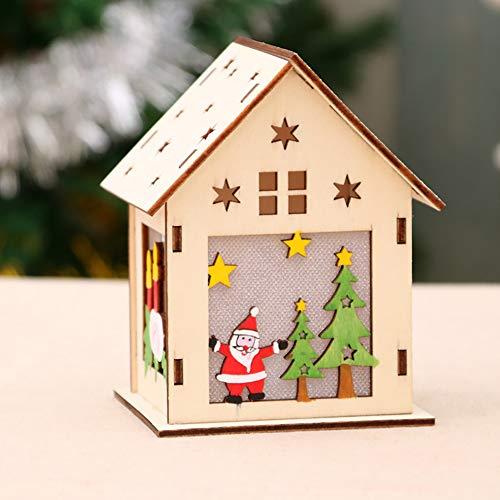 Longzhuo Kerstmis houten huisjes DIY houten huis LED kersthuisdecoratie huis RGB verlichting hanger huis kerstdecoratie raamdecoratie licht party knutselen kinderen geschenk