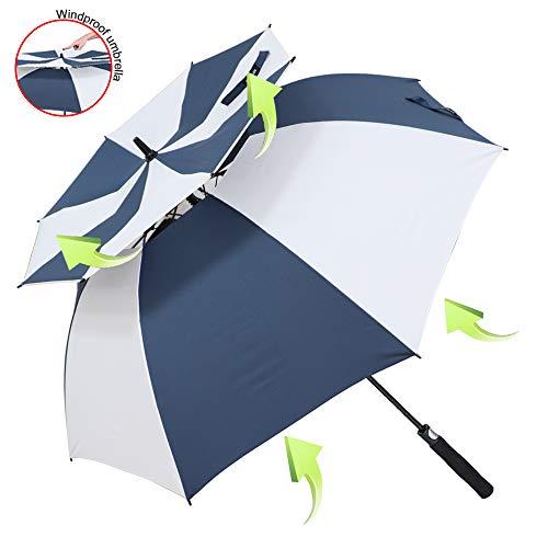 ZOMAKE 157cm Automatische Öffnen Golf Schirme Extra große Übergroß Doppelt Überdachung Belüftet Winddicht wasserdichte Stock Regenschirme (Blau/Weiß)