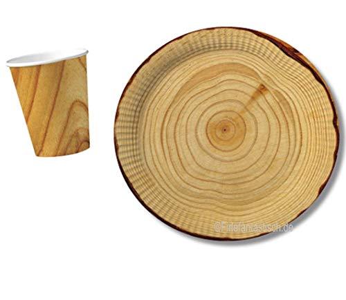 10 Pappteller im * Holz Design * für Party und Geburtstag von DH-Konzept // Teller Partyteller Party Fete Set Baumstamm Wood