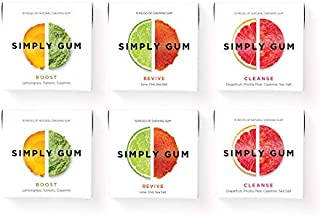 Simply Gum | Natural Chewing Gum | Variety Pack - Boost, Cleanse, Revive | Pack of Six (90 Pieces Total) | Plant-Based + Aspartame-Free + non-GMO