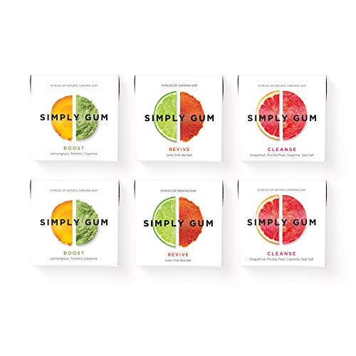 Simply Gum | Natural Chewing Gum | Variety Pack - Boost, Cleanse, Revive | Pack of Six (90 Pieces Total)| Plastic Free + Aspartame Free + non GMO