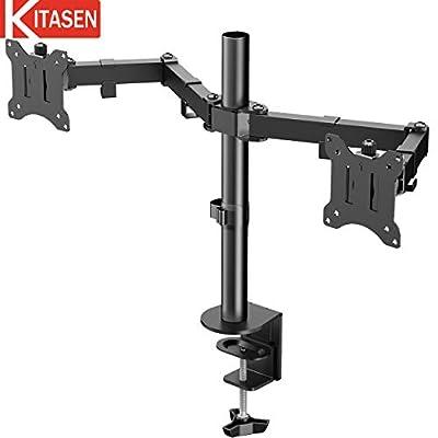 PCモニターアーム デュアルディスプレイアーム 2画面ディスプレイスタンド 水平多関節 17-32インチ対応 耐荷重8kg KITASEN