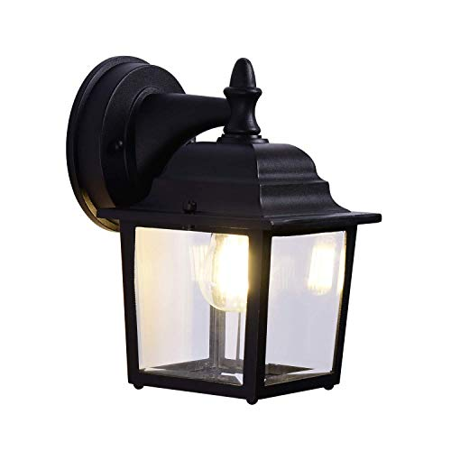 CMmin buitenwandlamp, gegoten aluminium anti-roest transparante glazen lamp buitenverlichting armaturen geschikt voor binnenplaatsen, villa's, parken, Plazas buitenmuur lamp armatuur