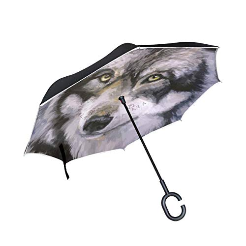 Rode paraplu, omgekeerd, dubbellaags, met greep in C-vorm, voor meisjes, met wolfolie voor buiten, regen, winddicht