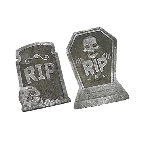 Generic Espuma Halloween Rip Lápides de Cemitério ( 2 Pack ) Lápide Halloween Decorações Com Cabeça Do Crânio Fantasma Garra Layout de Cena Do Dia Das Bruxas ( Aleatória )
