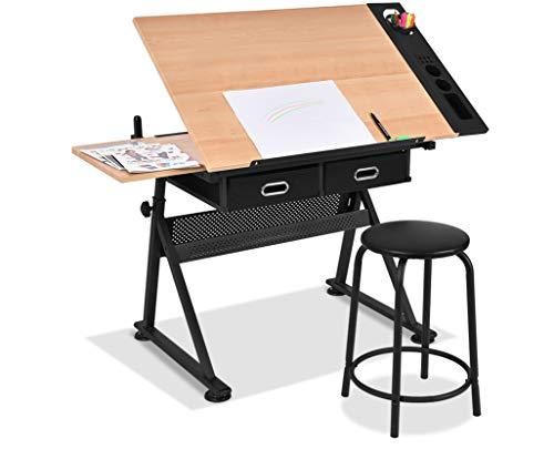 Giantex Zeichentisch mit Hocker, Architektentisch höhenverstellbar & neigbar, Schreibtisch Arbeitstisch mit Schubladen und doppelten Arbeitsflächen für Zeichen, Grafikdesign