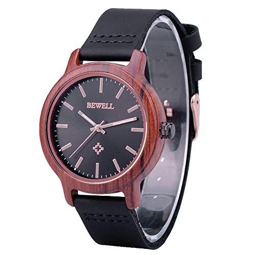 BEWELL Unisex horloge hout analoog Japans kwartsuurwerk met lederen armband W170AL