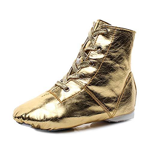 TINRYMX Zapatos de Jazz sobre el Tobillo Botas de Baile Modernas con Cordones para Mujeres y Hombres, Gold, EU 34
