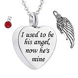 Urna Cenizas Colgante Unisex Angel Wings Memorial Souvenirs Ash Urn Colgante Colgante Grabado Estoy acostumbrado a ser Usado a Sus ángeles Ahora él la Mina urna cremación Collar Memorial