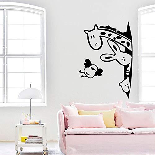ASFGA Tier Wandtattoos Cartoon Kaninchen Giraffe Bär Vogel Türen und Fenster Kühlschrank Vinyl Aufkleber Kinderzimmer Kindergarten Innendekoration