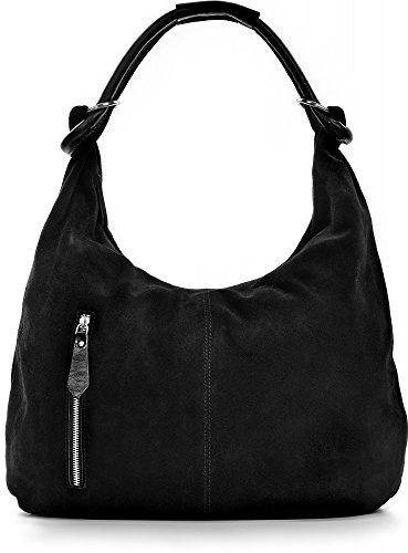 CNTMP Damen Schultertasche Leder, Hobo-Bag, Leder Handtasche Damen, Beuteltasche Wildleder, Leder-Tasche DIN-A4, 44x36x4cm (B x H x T), Farbe:Schwarz