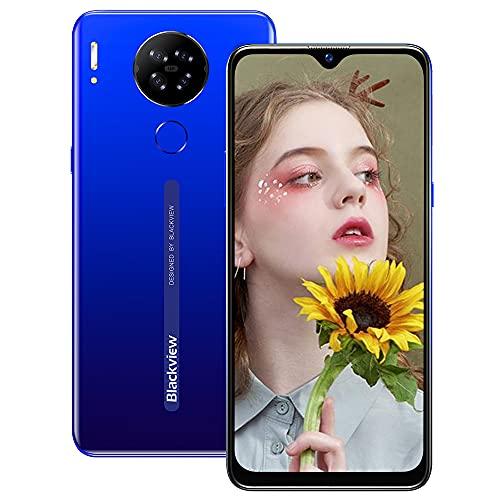 Smartphone Libre 4G, Blackview A80 6.21' HD+ Pantalla con Cámara Cuádruple 13MP, 16GB ROM, 128GB SD Batería 4200mAh Android 10 GO Teléfono Móvil Barato Dual SIM - Huella Digital/Face ID/GPS/FM (Azul)