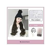 ナチュラル接続髪合成のBlack Hatカーリーヘアストレートヘアウィッグ弾性ニット帽子ウィッグ耐熱女性、43,22Inches