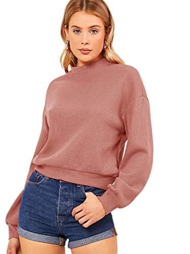 Floerns Women's Casual Mock Neck Long Sleeve Sweatshirt Pullover Top Pink L
