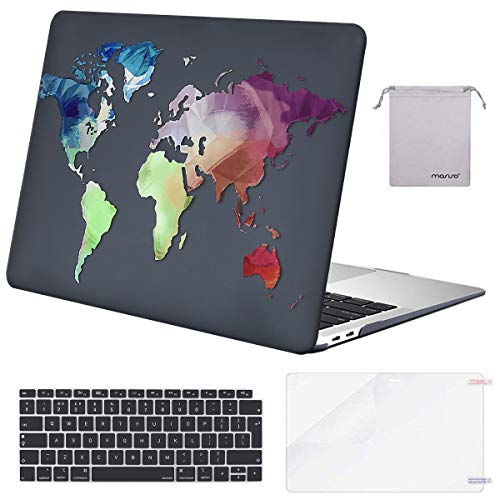 MOSISO MacBook Air 13 inch Case 2020 2019 2018 A2337 M1 A2179 A1932, Plastic Hard Shell&Keyboard Cover&Screen Protector&Storage Bag Compatible with MacBook Air 13 inch Retina, World Map Black Base