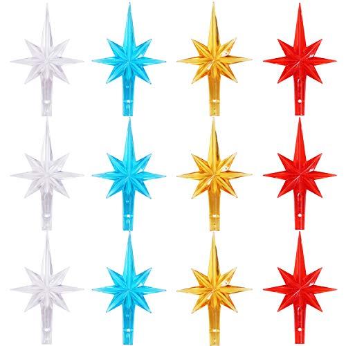 Ruisita 12 Pieces Multi Color Clear Stars Ceramic Christmas Tree Plastic Star for Christmas Tree Ornaments