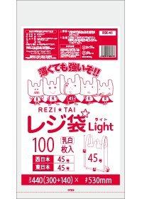 レジ袋ライト45号 300/440x530x0.016厚 乳白薄手 RSK-45 100枚 HDPE素材