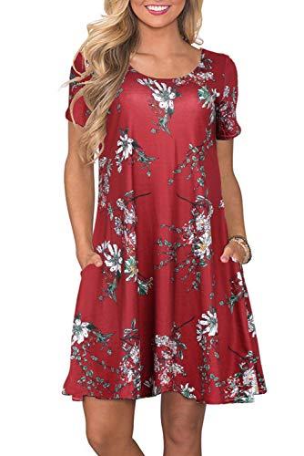 Bequemer Laden Sommerkleider Damen Casual Kurzarm T-Shirt Kleid Kurzen Blumen Bedrucktes Strandkleider mit Taschen, XXL, Weinrot