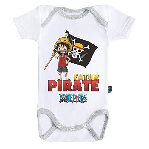 Baby Geek Futur Pirate Luffy One Piece TM - Body para bebé de Manga Corta Blanco 6-12 Meses