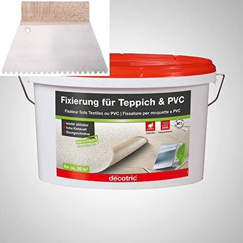 BODENMEISTER PVC Teppich Kleber Dispersionskleber 3kg Fixierung, Zahnspachtel Teppichboden und Vinylboden kleben