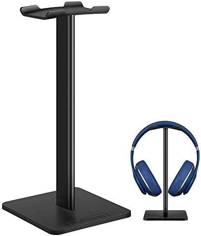 Headphone Stand Headset Holder- Gaming Headset Holder with Aluminum Supporting Bar Flexible Headrest Anti-Slip Earphone Stand for All Headphones, Black