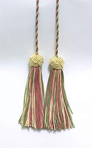DÉCOPRO Vanilla, Dusty Rose, Light Olive Green Double Tassel/Tassel Tie with 95mm Tassels/Spread 69cm,Style# BHCT, Color: 9401