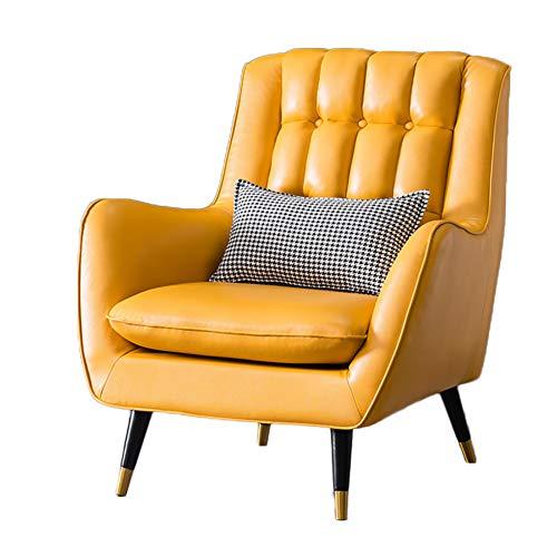 HUAYIN Sillón de Cuero Moderno para Sala de Estar, cómodos sofás Individuales Sillón de Club con Respaldo Alto para Dormitorio, Lectura, Silla de Sala de Estar con Patas de Metal,Amarillo