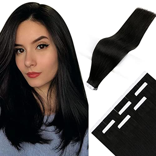RUNATURE Invisible Tape in Hair Extensions 16 Pouces 40cm Couleur 1B Off Noir Cheveux Raides Real Hair Extension 10Pcs 25g Remy Extension Bande Adhesi