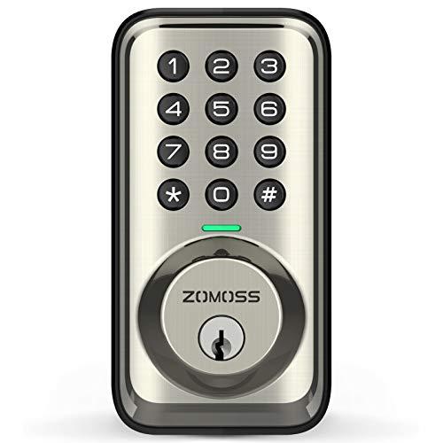 Keyless Entry Deadbolt Door Locks with Keypads, Zomoss Electronic Keypad Deadbolt Lock, Front Door Locks with Keys, 20 User Codes, Auto Lock, Low Battery Indication, Easy to Install, Satin Nickel