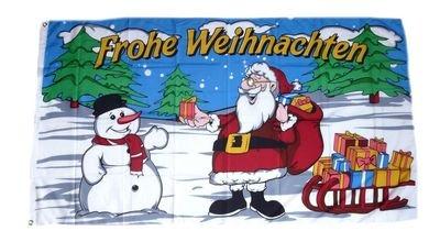 Fahne / Flagge Frohe Weihnachten Schlitten 90 x 150 cm
