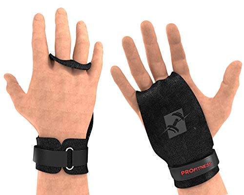 ProFitness 2 Hole Leather Cross Training Gymnastic Grips - Non Slip, High Grip Palm Protection with Wrist Wrap Support for Pull Ups, Kettlebells, WODs (Large 5' and Up (Palm Size), Black/Red Grip)